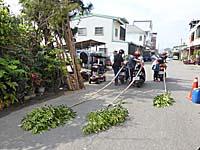 バイクで引きずって木を運ぶ