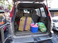 野菜などを積み込んだ荷台