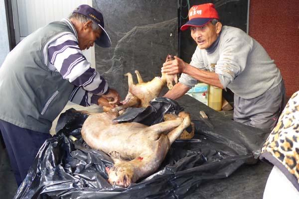 アバイの生地に豚肉を詰めるおばあちゃん